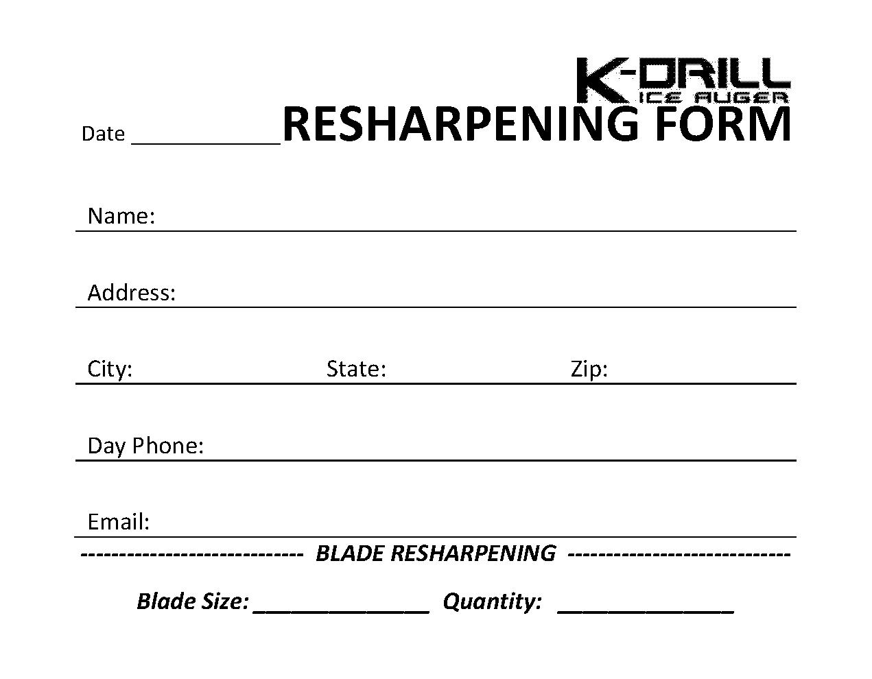 Kdrill Blade Sharpening Form